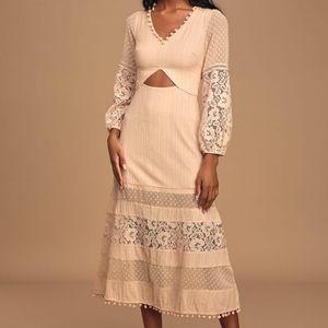 Lulus Modern Menagerie Lace Cutout Midi Dress